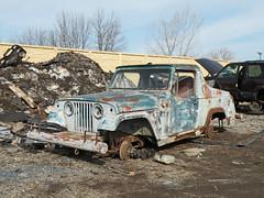 Jeepster ([jonrev]) Tags: car yard rust ruins jeep lot pickup automotive center rusted junkyard recycling scrap junker clunker cj5