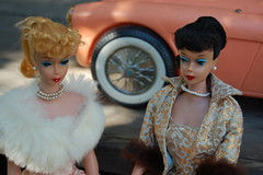 Alice Kramden and Louise (Emily1957) Tags: car fashion vintage toy toys evening nikon doll dolls barbie kitlens pearls mink ponytail 1960s mattel toycar austinhealey ponytailbarbie nikond40 vintagebarbieenchantedevening vintageponytailbarbienumber5 vintagebarbieeveningsplendour