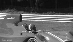 Road America '82 (santa cruz graybeard) Tags: blackandwhite bw speed helmet roadamerica panning goodyear motorsport heuer scca canam blackwhitephotos bellhelmets alholbert vdsracing marcsproule stockblockchevy