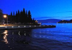 Montenegro Blue Hour (stevelamb007) Tags: blue trees sky reflection water silhouette night reflections evening nikon waves handheld bluehour montenegro kotor eveningstar tivat 18200mm d90 kotorbay stevelamb lepetane