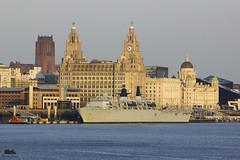 HMS Bulwark (Andy Tee) Tags: sunset sun liverpool buildings river evening ship cityscape cathedral navy royal liver mersey commando amphibious hms bulwark