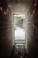 Eclectic Yard (ep_jhu) Tags: light shadow wheel metal dark dc washington alley fuji flamingo tunnel georgetown cobblestone fujifilm walls pavers x100s