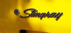 - 1975 Corvette Stingray emblem - (Jac Hardyy) Tags: auto old 3 eye classic cars chevrolet sports car yellow silver emblem logo ray stingray label name c sting plate exotic gelb chrome 1975 type oldtimer autos catcher corvette luxury luxus sportscar eyecatcher c3 silber sportwagen silbern blickfang