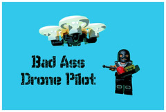 Bad Ass Drone Pilot (tim constable) Tags: wild naughty robot flying crazy unsafe dangerous funny humorous lego lol joke badass watching flight humour safety monitor attitude psycho disguise spy stupid illegal vehicle minifig masked remotecontrol mad uav spying balaclava pilot stunt guerrilla feral peeping minifigure drone raider timconstable