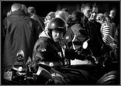 Black & white biker (* RICHARD M) Tags: street hardhat portraits mono glasses blackwhite candid beards motorcycles whiskers portraiture specs biker eyeglasses spectacles motorbikes crowds bearded southport merseyside motorcyclist streetportraits sefton crashhelmet lightandshade bikerider streetportraiture candidportraits candidportraiture hairybiker southportpromenade bewhiskered beardedbiker