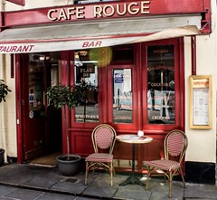 Cafe Rouge (fotosforfun2) Tags: street red reflection building window coffee shop canon table relax rouge cafe chairs tea surrey meal guildford canon650d
