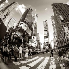 Times Square II (Stefan K0n@th) Tags: street city nyc blackandwhite bw newyork building monochrome skyline architecture square manhattan strangers timessquare crosswalk wideangel peleng8mmf35 circularfisheye