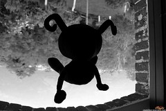 My Friend Heartless (SkyferPhoto) Tags: shadow blackandwhite bw nerd window dark levitation kingdomhearts heartless