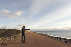 On the road again (Mmarichka) Tags: ocean voyage road travel winter sea sky cloud me myself alone hiver cte route ciel stop soire nuage paysage extrieur plage seule rivage pouce littoral autostop