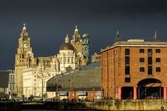Liverpool, UK (stephenbryan825) Tags: contrast liverpool buildings dome threegraces albertdock royalliverbuilding dramaticlight portofliverpoolbuilding selects mannisland