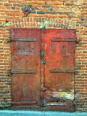 Auburn Door (RHMImages) Tags: california door old foothills brick wall graffiti town rust decay auburn historic rusted rusting oldtown snapseed