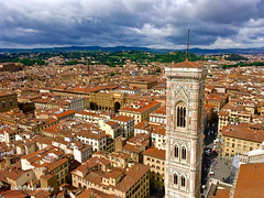 Florence from the Duomo, with the Bell Tower (GSB Photography) Tags: firenze florence italy duomo dome cityscape cathedral renaissance gothic unescoworldheritagesite clouds history historical campanile giottodibondone tower iphone6splus 100v10f twop 250v10f 500v20f 1000v40f 50favorites autoremovedfrom10to25faves 3000v120f