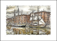 TALL SHIPS (Derek Hyamson) Tags: liverpool pencil sketch impression hdr salthousedock