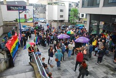 """The crowd gathers outside Cafe Kiss & the Swallow for the Plymouth Vigil • <a style=""""font-size:0.8em;"""" href=""""http://www.flickr.com/photos/66700933@N06/27474746870/"""" target=""""_blank"""">View on Flickr</a>"""