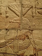 Closeup of relief on the Shrine of the 25th dynasty pharaoh and Kushite King Taharqa  Egypt 7th century BCE (mharrsch) Tags: architecture temple worship shrine god unitedkingdom religion egypt oxford 7thcenturybce myth deity basrelief ashmoleanmuseum taharqa lateperiod 25thdynasty mharrsch