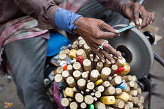 Hands of a knife sharpener in Mumbai, India. (cookiesound) Tags: life street travel people india canon photography hands knife documentary streetlife bombay mumbai streetvendor travelphotography knifesharpener travelphotographer cookiesound nisamaier ullimaier