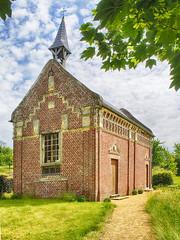 Leaning Steeple (enneafive) Tags: trees green castle belgium belgique belgie chapel olympus steeple hermitage leaning omd borgloon em5 hulsberg