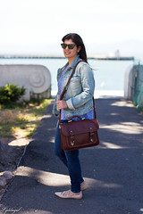 Printed tank, denim jacket, jeans, lace up flats, ona camera bag-3.jpg (LyddieGal) Tags: california ona sanfrancisco blue camerabag denim fashion gap gorjana jojo laceupflats outfit rayban spring style tjmaxx travel vacation wardrobe weekendstyle