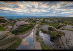 Return (Steve-P2010) Tags: sunset summer reflection puddle peakdistrict stanageedge copyrightsteveprice