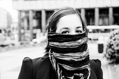Winter + Wind (Bruno Da Silva) Tags: winter portrait woman cold film monochrome analog uruguay freezing analogue montevideo canoneos300 ilfordhp5400 brunosilva filmisnotdead