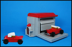 Little Red Roadster (Karf Oohlu) Tags: lego mocc microscale car roadster garage vignette