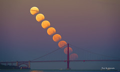 Lunar Eclipse (davidyuweb) Tags: bridge sky moon golden eclipse photo gate clear lunar moonset stacked sfist luckysnapshot
