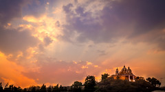 Sunset in Cholula (Ramon Borquez) Tags: sunset orange sun sol church mxico clouds atardecer gold lights luces pyramid iglesia nubes cholula puebla naranja pirmide oro nikon1835 pirmidedecholula