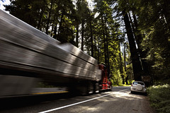 ADS_USA_000002668 (dickysingh) Tags: california road travel trees usa motion blur car america truck movement woods highway tour redwood redwoods westcoast forests overtaking coastalredwood gianttrees wwwranthambhorecom