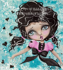 Floating Mixed Media Original Painting by Lizzy Love (Lizzy Love  Oddball Art Co.) Tags: cute art bigeyes whimsy mixedmedia surreal kawaii whimsical popsurrealism bigeyedart lizzylove oddballart oddballartco