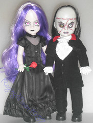 Beauty and Beast (RagingMoon1987) Tags: redrose blackhair pinkeyes purplehair blackdress livingdeaddoll blacklips blacklipstick blacksuit whiteskin mezcotoyz gothicdoll