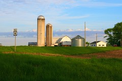 Heartland (1) (eaglemac) Tags: ohio sky tree grass barn rural outdoors farm hill indiana roadtrip farmland silo grassland