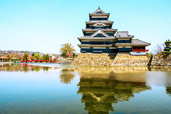 Matsumoto Castle (astrowym) Tags: reflection castle water japan canon wooden stonework matsumoto nagano nationaltreasure 16thcentury 600d hirajiro