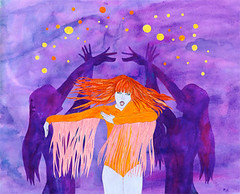 Tiny Dancer (Sharon Farrow) Tags: music orange girl female illustration pencil ink paint purple singing dancing decorative silhouettes fringe dancer illustrator whoami tinydancer ameliasmagazine sharonfarrow
