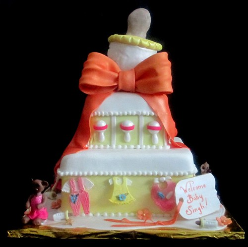 Baby Shower Giant Bottle Clothes Rattles Bears Tutus Fondant Cake Main