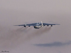 Antonov Airlines An-225 lifting up at SNN (birrlad) Tags: sunset up airplane evening airport taxi aircraft aviation airplanes cargo line shannon takeoff runway airliner freighter antonov an225