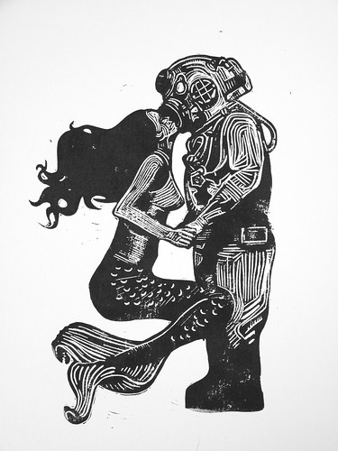 My underwater love - linocut