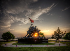 Sunset on the Iwo Jima Monument In Fall River (Frank C. Grace (Trig Photography)) Tags: park sunset ma nikon memorial warm unitedstates flag massachusetts newengland battle worldwarii american glowing marines hdr iwojima momument fallriver bicentennialpark tonemapped mountsuribachi d800e