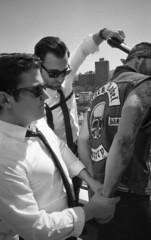 (David Chee) Tags: nyc blackandwhite bw newyork film brooklyn analog video shoot kodak hc110 400 williamsburg behindthescenes ricoh gr1 handcuffs bts gr1v kentmere benoakes