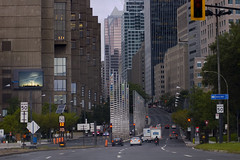 going up university street (Lou Musacchio) Tags: canada cityscape quebec montreal photomerge chemtrails urbanlandscape universitystreet