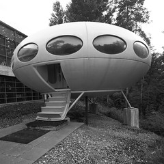 IMG_6287BW A spaceship oddity (marklarmuseau) Tags: futuro weegee espoo finland mattisuuronen emma espoomuseumofmodernart