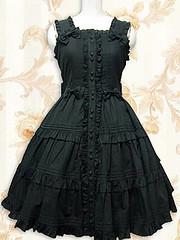 Cotton Black Lolita Dress