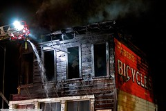 Vintage San Jose Bicycle store destroyed in 3 alarm blaze (YFD) Tags: california usa canon fire action 911 sanjose firetruck sjfd emergency ems firedepartment eos7d