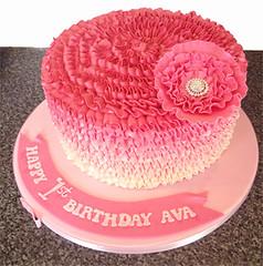 Pink Buttercream Ruffle Cake
