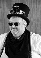 Steampunk Man, Samuel Sprocket (J Wells S) Tags: ohio portrait blackandwhite bw monochrome costume tophat williamsburg gentleman steampunk 2013oldwestfestival samuelsprocket