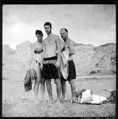 MotherBrotherFather (Salt.as) Tags: family bw white black 120 6x6 film beach monochrome print automn scanned contact kiev 6c ilford fp4 114 mgiv
