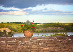 thirty five sweet goodbyes (sparkleplenty_fotos) Tags: trees newyork water stone wall river ledge flowerpot hudsonriver redflowers sliders hudsonvalley hss slid miltonnewyork happysliderssunday innatbuttermilkfalls