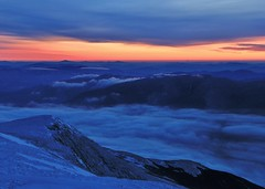 Sunrise 2/15/14 (rightthewrong) Tags: new blue white mountains sunrise dawn washington mt peak nelson nh hampshire presidential ne mount observatory hour summit february feb northeast range obs 2014 carters crag mwo presidentials undercast cragway catermoriah