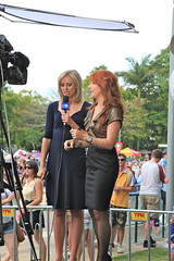 Robin Bailey media, 97.3fm and Channel 9 Brisbane reporter (Lance #) Tags: outdoor network people 973fmbrisbane robinbailey channelnine media cameras southbank queensvisit 973 fm redhead brisbanemedia femalepresenter lightscameraaction brisbane brisbanecbd october2011 southbankparklands redheads