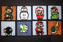 Super Mario Bros 3 Coasters (Crafty Guy) Tags: friends cloud 3 boot diy sock pattern buddies crafts nintendo super mario canvas plastic toad nes bros coaster luigi enemies foe cheep koopa artscrafts plasticcanvas lakitu bobomb drinkcoaster troopa beveragecoaster