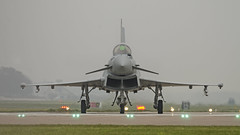 (chris.selby) Tags: lights haze head aircraft aeroplane eurofighter runway typhoon raf on coningsby